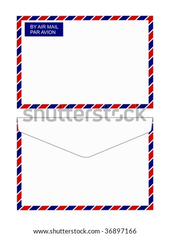 Illustration of  back and front views of an air mail envelope