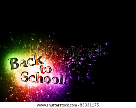 illustration of Back to School message in hole of the broken glass, copyspace - stock photo