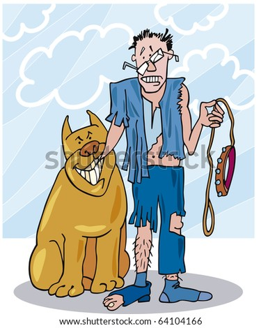 illustration of bad dog and his battered owner - stock photo
