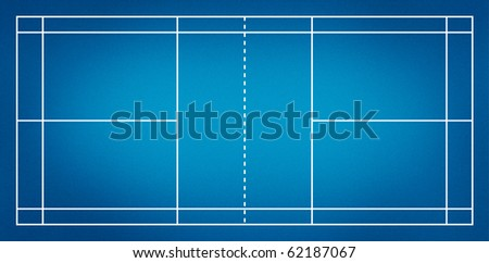 Illustration of badminton court.( blue court )