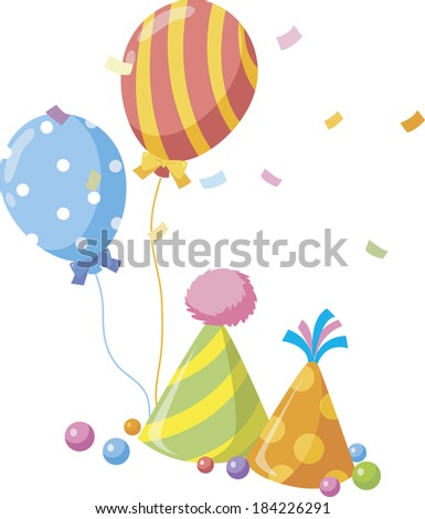 Illustration of balloons and party hats