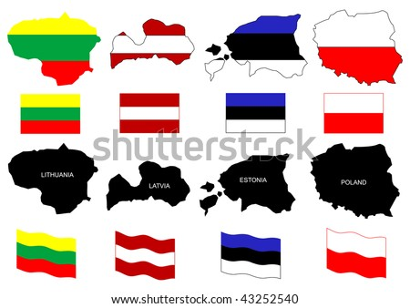 illustration of Baltic countries-Lithuania,Latvia,Estonia,Poland-maps with flags