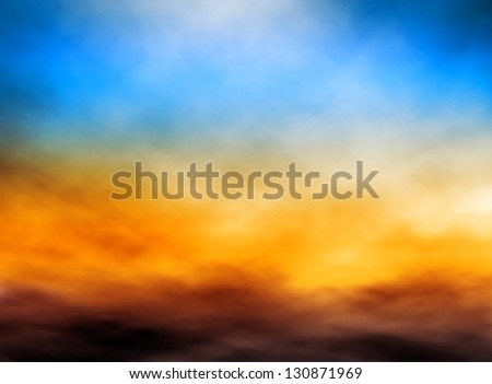Illustration of bank of clouds in a sunset sky - stock photo