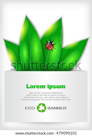 Illustration of banner with green leaves, ladybug and recycle sign