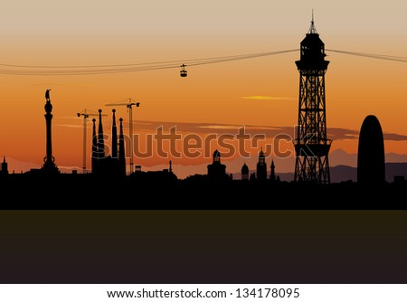 Illustration of Barcelona skyline silhouette with sunset sky - stock photo