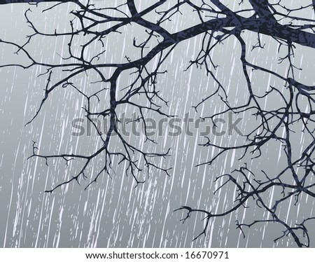 Illustration of bare branches in winter weather - stock photo