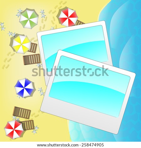 Illustration of beach from above with photo frames - stock photo