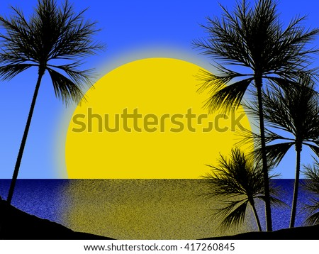 illustration of beach with palm tree - stock photo