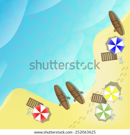 Illustration of beach with sea, boats and parasols - stock photo