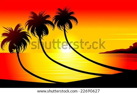 Illustration of beach with sun set background
