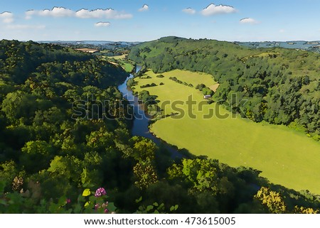 Illustration of beautiful English countryside in the Wye Valley and River Wye between the counties of Herefordshire and Gloucestershire England UK