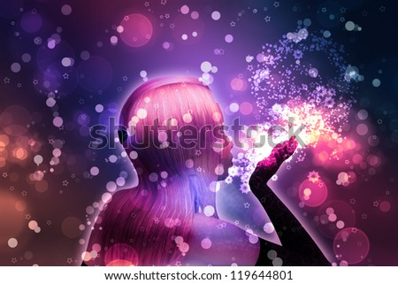 Illustration of beautiful girl blows snowflakes on colorful holiday background.