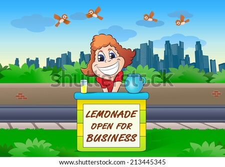illustration of beautiful girl sell lemonade on the table in city background - stock photo