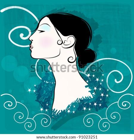 Illustration of beautiful modern, hand drawn style elegant winter woman portrait - stock photo
