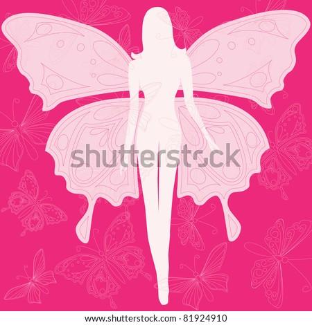Illustration of beautiful summer butterfly woman - stock photo