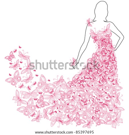 Illustration of beautiful summer woman with butterfly dress - stock photo