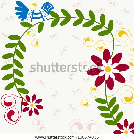Illustration of beautiful traditional floral invitation - stock photo