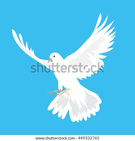 Illustration of beautiful white dove flying way up in a blue sky - stock photo