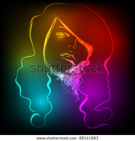 Illustration of beautiful woman's face made of colorful light