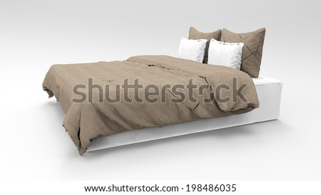 illustration of bed for bedroom on white background. - stock photo