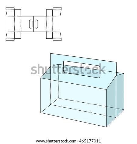 adobe illustrator packaging templates - cardboard box cutting box handle stock vector 400084723