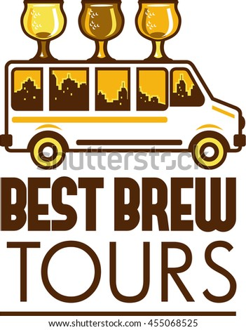 Illustration of  beer flight glass each holding a different beer type on top of van with cityscape buildings in the background viewed from the side with the words Best Brew Tours done in retro style.  - stock photo