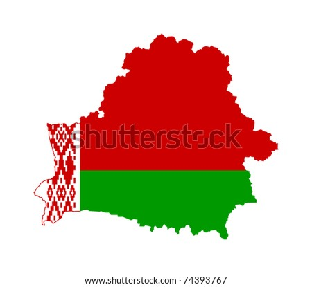 Illustration of Belarus flag on map of country; isolated on white background. - stock photo