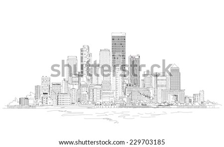 Illustration of big business aria. Modern office architecture. Sketch collection - stock photo