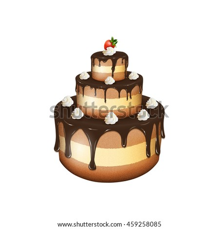 illustration of big chocolate cake with cream and strawberry on white background