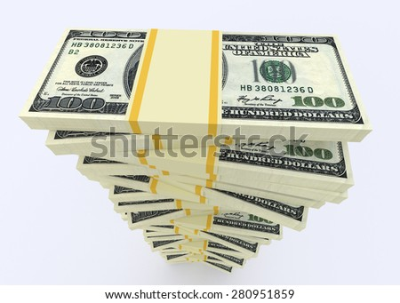 Illustration of big money stack from dollars usa. Finance concepts