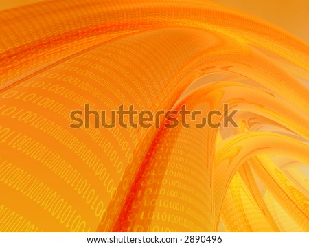 Illustration of binary data flowing on several orange cables - stock photo