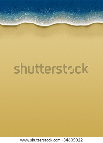 Illustration of birds-view of waves rolling over the beach - stock photo