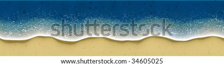 Illustration of birds-view of waves rolling over the beach. Exellent material for site header. - stock photo