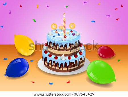 illustration of birthday cake with bunch of colorful balloon