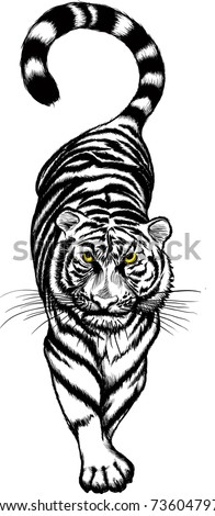 illustration of black and white Crouching Tiger with yellow eyes. Raster version - stock photo