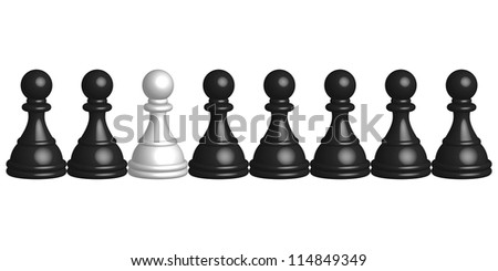 Illustration of black and white pawns