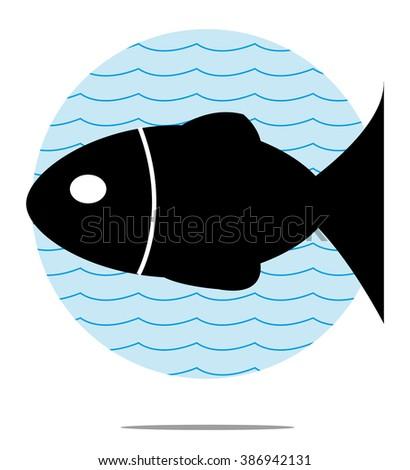 Illustration of black fish with blue wave background - stock photo