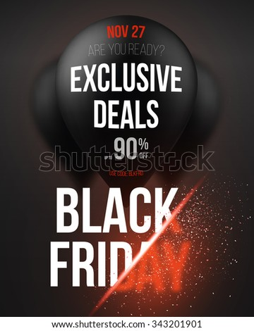 Illustration of Black Friday Sale Air Balloon Poster Template with Explosion Effect. Realistic 3D Air Balloons