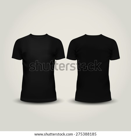 illustration of black men T-shirt isolated on a light background - stock photo