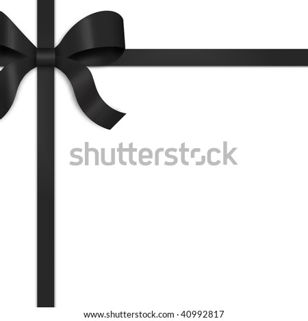 Illustration of black satin ribbon, tied with bow on upper left side of frame.  White background provides copy space.