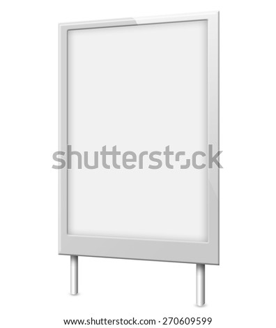 Illustration of Blank billboard (city advert) isolated on white background - stock photo