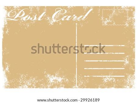 illustration of blank old grunge postcard - stock photo