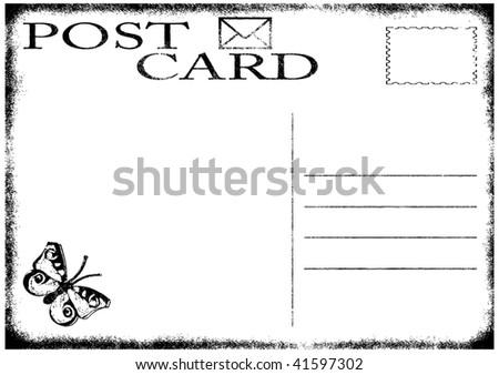 illustration of blank old grunge postcard Also vector variant in my portfolio. - stock photo