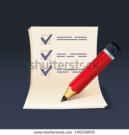 illustration of blank paper and pen. Check list. rasterized/ bitmap - stock photo