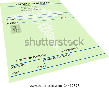 illustration of blank prescription in perspective
