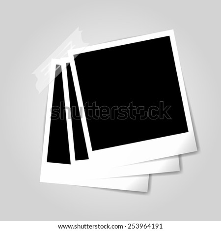 Illustration of blank retro photo frames with scotch-tape
