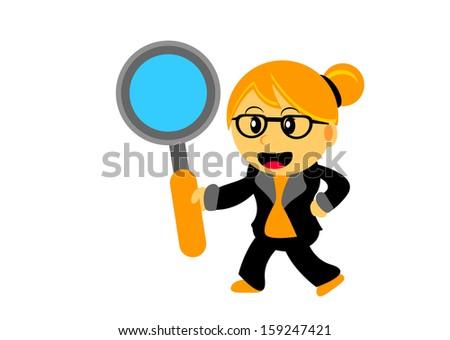 illustration of blonde chibi woman cartoon character  - stock photo
