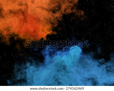 Illustration of blue and orange nebulas and stars in space - stock photo