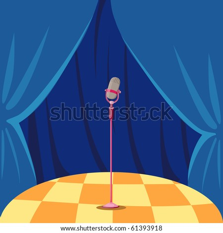 illustration of blue curtain and microphone on a stage - stock photo