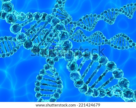 Illustration of blue DNA (deoxyribonucleic acid) with waves on background - stock photo